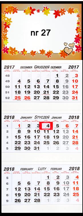 Fotokalendarz trójdzielny na walentynki
